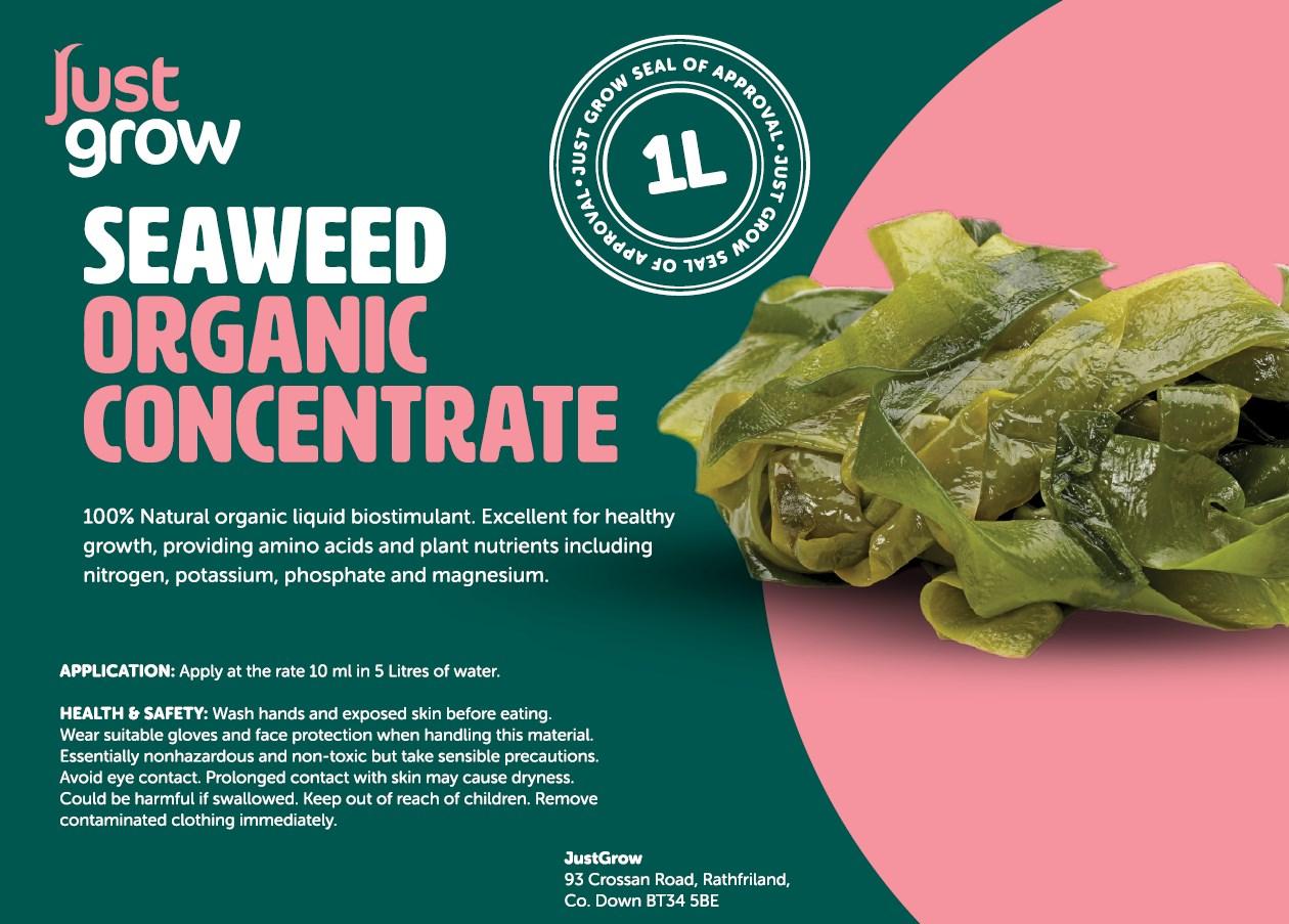 'Just Grow' SEAWEED Concentrate 100% Organic Biostimulant Liquid Fertiliser  1 Litre